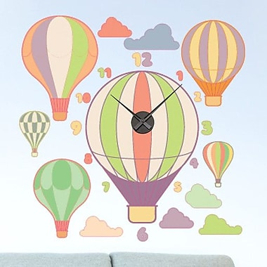 Style and Apply Hot Air Balloons Wall Clock Wall Decal