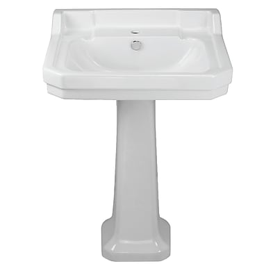 Whitehaus Collection China Series Vitreous China 35'' Pedestal Bathroom Sink w/ Overflow; Beige