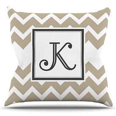 KESS InHouse Monogram Chevron by KESS Original Outdoor Throw Pillow; Tan