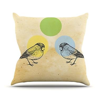 KESS InHouse Green Paper Birds Outdoor Throw Pillow