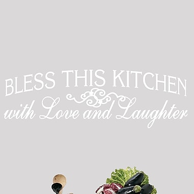 SweetumsWallDecals Bless This Kitchen Wall Decal; White