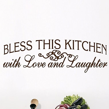 SweetumsWallDecals Bless This Kitchen Wall Decal; Chocolate Brown