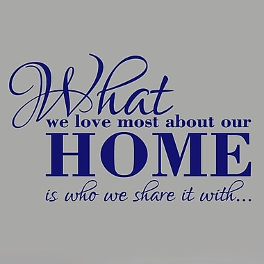 SweetumsWallDecals What We Love Most About Our Home Wall Decal; Navy