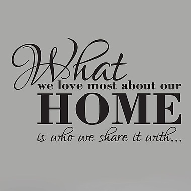 SweetumsWallDecals What We Love Most About Our Home Wall Decal; Black