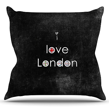 KESS InHouse I Love London by Ingrid Beddoes Outdoor Throw Pillow