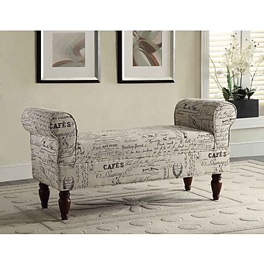 Roundhill Furniture Aspell Upholstered Bench