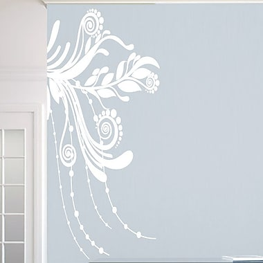 SweetumsWallDecals Corner Flourish Wall Decal; White