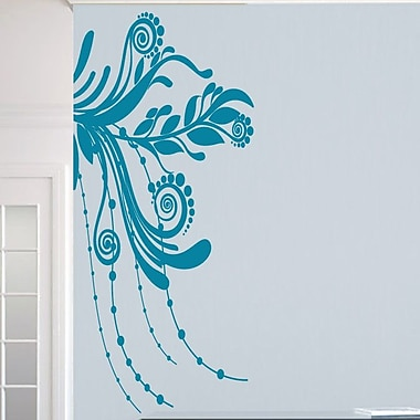 SweetumsWallDecals Corner Flourish Wall Decal; Teal