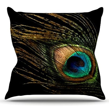 KESS InHouse Peacock by Alison Coxon Outdoor Throw Pillow