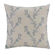 Grouchy Goose Aqua & Gray Twig Embroidery Linen Square Pillow