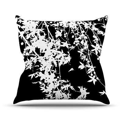 KESS InHouse White on Black Outdoor Throw Pillow