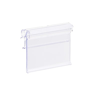 KostklipMD – Porte-étiquette ClearGrip sur fil T ou petite plaque, bascule haut, 1,25 x 1,63 po, transp, pqt 100 (221T-106050)
