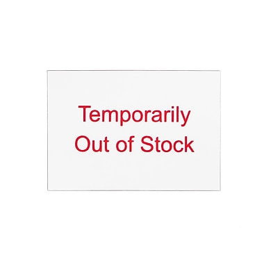 Kostklip – Marqueur de point ShelfTalker rouge « Temporarily Out of Stock », 1,25 po x 1,75 po, 1000/paq. (SALT-103823)