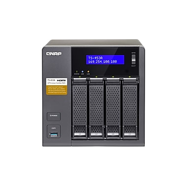 QNAP – Combo NAS QTS-Linux 4 baies, mémoire vive de 4 Go (TS-453a-4G-US)