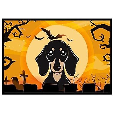 Caroline's Treasures Halloween Smooth Black and Tan Dachshund Doormat; 1'6'' x 2'3''