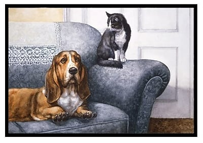 Caroline's Treasures Basset Hound and Cat on Couch Doormat; 1'6'' x 2'3''