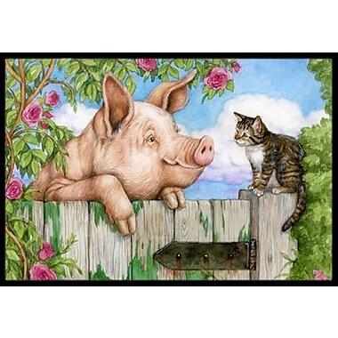 Caroline's Treasures Pig at the Gate w/ the Cat Doormat; 2' x 3'