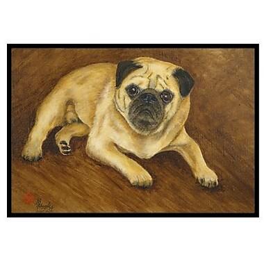 Caroline's Treasures Fawn Pug Roscoe Doormat; 2' x 3'