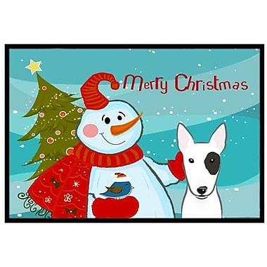 Caroline's Treasures Snowman w/ Bull Terrier Doormat; 2' x 3'
