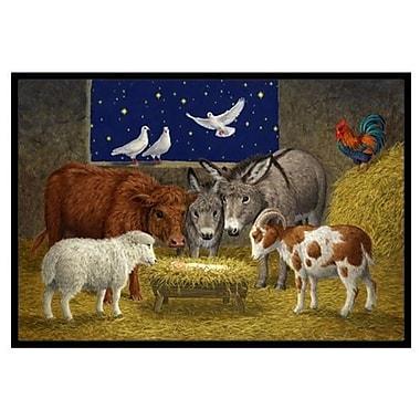 Caroline's Treasures Animals at Crib Nativity Christmas Scene Doormat; 2' x 3'