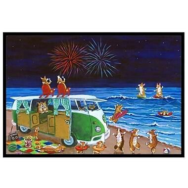 Caroline's Treasures Corgi Beach Party Volkswagen Bus Fireworks Doormat; 1'6'' x 2'3''