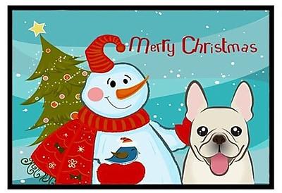 Caroline's Treasures Snowman w/ French Bulldog Doormat; 1'6'' x 2'3''