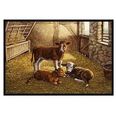 Caroline's Treasures Cows Calves in the Barn Doormat; 2' x 3'
