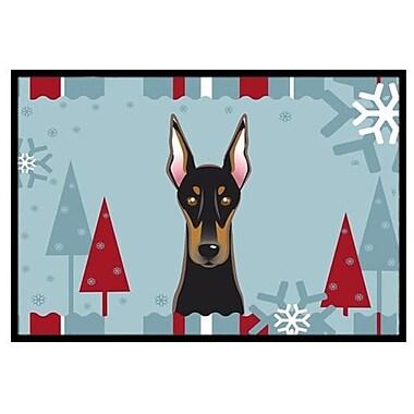 Caroline's Treasures Winter Holiday Doberman Doormat; 2' x 3'