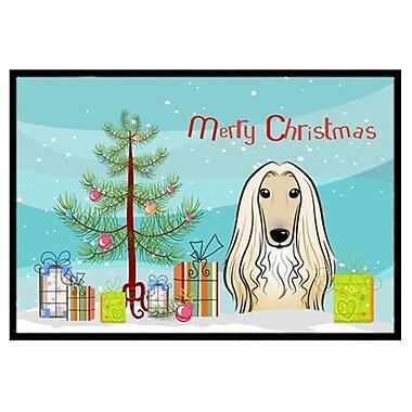 Caroline's Treasures Christmas Tree and Afghan Hound Doormat; 2' x 3'