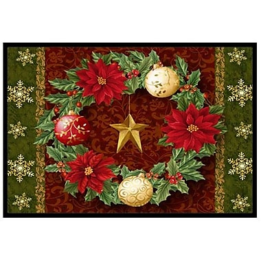 Caroline's Treasures Holly Wreath w/ Christmas Ornaments Doormat; 2' x 3'