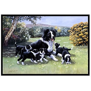 Caroline's Treasures Border Collie Puppies w/ Momma Doormat; 2' x 3'