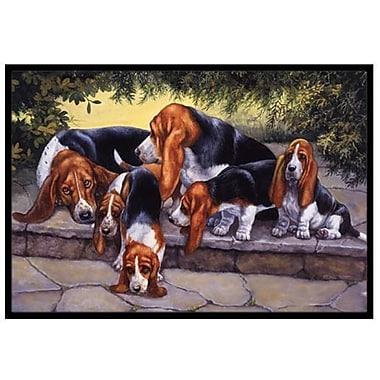 Caroline's Treasures Basset Hound Puppies, Momma and Daddy Doormat; 2' x 3'