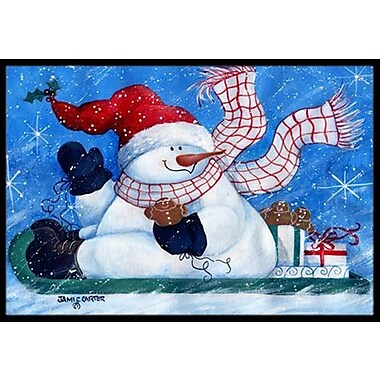 Caroline's Treasures Come Ride w/ Me Snowman Doormat; 2' x 3'