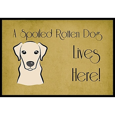 Caroline's Treasures Yellow Labrador Spoiled Dog Lives Here Doormat; 2' x 3'