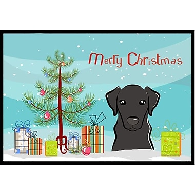 Caroline's Treasures Christmas Tree and Black Labrador Doormat; 1'6'' x 2'3''