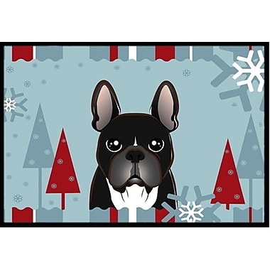 Caroline's Treasures Winter Holiday French Bulldog Doormat; 1'6'' x 2'3''