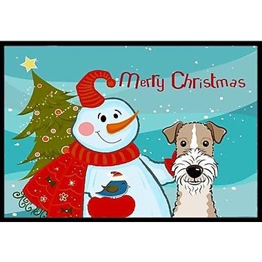 Caroline's Treasures Snowman w/ Wire Haired Fox Terrier Doormat; 1'6'' x 2'3''