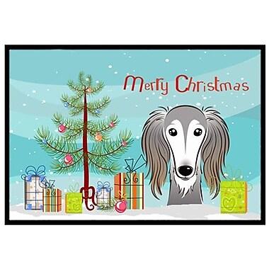 Caroline's Treasures Christmas Tree and Saluki Doormat; 2' x 3'