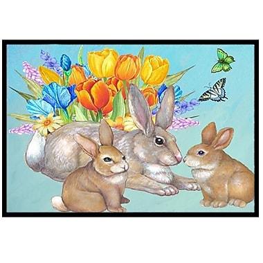 Caroline's Treasures Bunny Family Easter Rabbit Doormat; 1'6'' x 2'3''