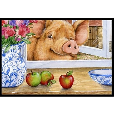 Caroline's Treasures Pig Trying to Reach the Apple in the Window Doormat; 2' x 3'