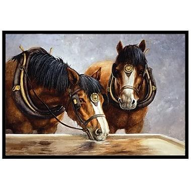 Caroline's Treasures Horses Taking a Drink of Water Doormat; 2' x 3'