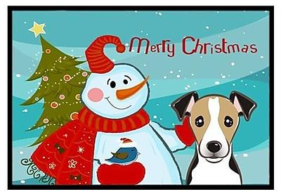 Caroline's Treasures Snowman w/ Jack Russell Terrier Doormat; 2' x 3'