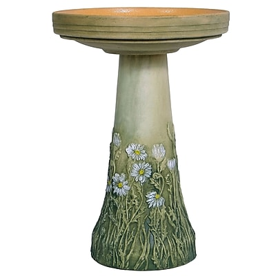 Birds Choice Burley Flowering Daisy Clay Birdbath