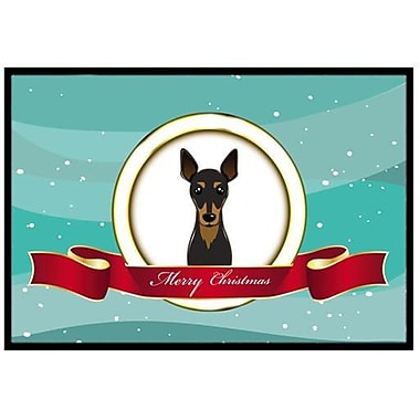 Caroline's Treasures Min Pin Merry Christmas Doormat; 2'3'' x 1'6''