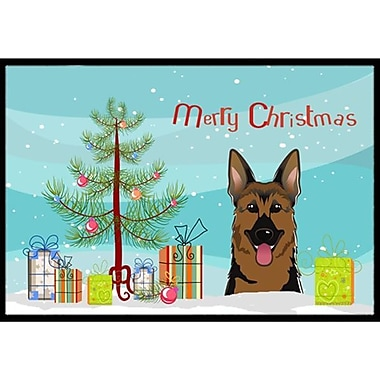 Caroline's Treasures Christmas Tree and German Shepherd Doormat; 2' x 3'