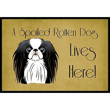 Caroline's Treasures Japanese Chin Spoiled Dog Lives Here Doormat; 2' x 3'