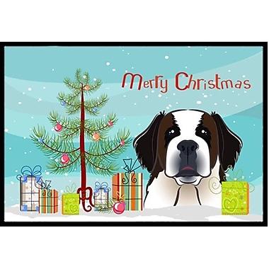 Caroline's Treasures Christmas Tree and Saint Bernard Doormat; 2' x 3'