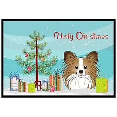 Caroline's Treasures Christmas Tree and Papillon Doormat; 1'6'' x 2'3''