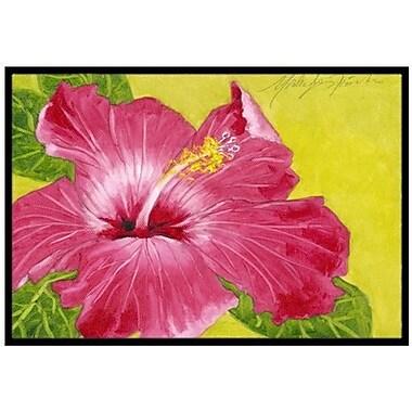 Caroline's Treasures Hot Pink Hibiscus Doormat; 2' x 3'