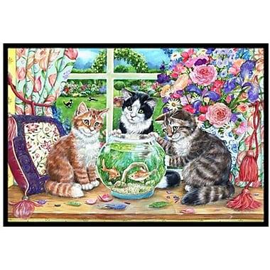 Caroline's Treasures Cats Just Looking in the fish bowl Doormat; 1'6'' x 2'3''